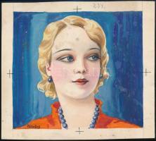 Földes Imre (1881-1948): Illusztráció. Akvarell, papír, jelzett, 12×13 cm