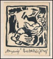 Bakallár József (1940-2013): Anyaság, 1978 körül. Linómetszet, papír, jelzett, paszpartuban, 5,5×5,5 cm. Hozzá tartozik a soroksári képzőművész, Bakallár József gépelt, autográf aláírásával ellátott levele 1978-ból. A Neue Zeitung újságírójának címezve, amelyben megköszöni a róla írt cikket és kéri, hogy azokat használhassa fel külföldi kiállításai alkalmával. Eredeti kézzel címzett borítékkal.