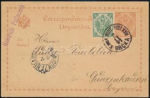 Bosznia Hercegovina 1891 Díjkiegészített díjjegyes levelezőlap Brckaból Bajorországba