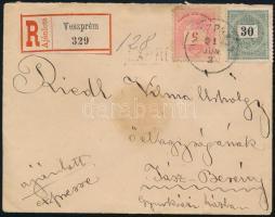 1891 Színesszámú 5kr + Fekete számú 30kr expressz ajánlott levélen / Registered express cover VESZPRÉM - JÁSZ-BERÉNY
