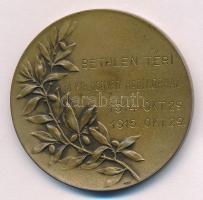 1915. Sebesültet ápoló nővért ábrázoló kétoldalas Br emlékérem, hátlapon BETHLEN TÉRI M. KIR. HONVÉD HADIKÓRHÁZ 1914. OKT. 29. 1915. OKT. 29. gravírozással, HUGUENIN gyártói jelzéssel (50mm) T:1