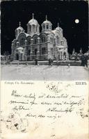 1900 Kiev, Kiew, Kyiv; Saint Volodymyrs Cathedral, Ukrainian Orthodox cathedral at night in winter (Rb)