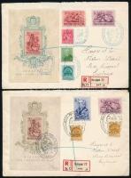 1939 Bethlen blokkpár 2 db ELSŐNAPI ajánlott levélen Angliába