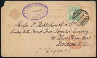 1884 Díjkiegészített díjjegyes levelezőlap Londonba, rajta Színes számú 3kr látványos lemezjavítással a jobb felső sarokban. Érdekes darab!!