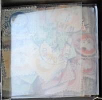 Ausztria 1867 kb 500 db bélyeg és kivágás, közte szép bélyegzések, kis dobozban