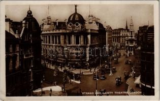 1933 London, Strand and Gaiety Theatre, automobile, autobus, truck (EK)