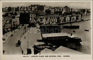 Sliema, Landing place and general view, port, Portsmouth United, steamship, boats