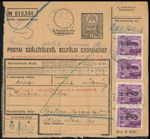 1946 12. díjszabás Csomagszállító Erkről Pestszenterzsébetre 20 x Betűs Cs.5-2. bérmentesítéssel, a pénzügyi illeték készpénzben leróva.