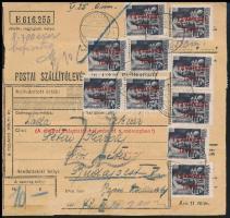 1946 16. díjszabás Csomagszállító Somogytúrról Budapestre 10 x Betűs Távolsági levél + 20 x Milliós 5 millió pengő bérmentesítéssel, a pénzügyi illeték készpénzben leróva.