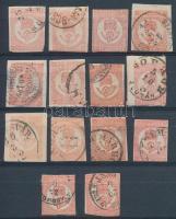 1871 14 db könyvnyomású Hírlapbélyeg színváltozatokkal
