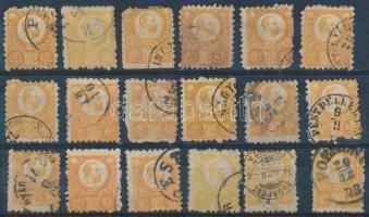 1871 Réznyomat 2kr 18 db bélyeg színváltozatokkal, közte bélyegzések (~37.000) (vegyes minőség / mixed quality)