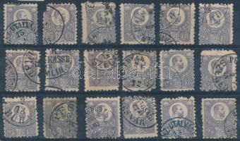 1871 Réznyomat 25kr 18 db bélyeg színváltozatokkal, közte bélyegzések (~150.000) (vegyes minőség / mixed quality)