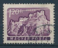 1961 Várak (II.) 1,20Ft a bélyeg felső részén végigfutó ferde fehér csík