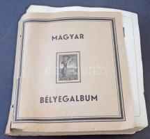 Előnyomott magyar albumlapok 1945-1962 1-107 oldalig sok főleg bélyegzett bélyeggel, sorokkal, közte 6 : 3, Madár sor, stb