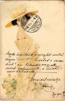 1902 Art Nouveau lady. Meissner & Buch Künstler-Postkarten Serie 1129. Moderne Mädchen litho s: Raphael Kirchner (EM)
