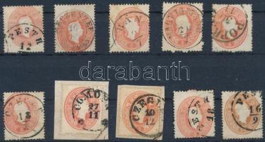 1861 10 db 5kr bélyeg