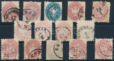 1863-1864 14 db bélyeg, közte 5 db sűrű fogazású és 1 Hírlapbélyeg