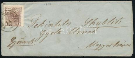 1857 6kr levélen SZALA-EGERSZEG - Magyaróvár