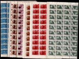 1943-1946 6 klf. teljes 100-as ív, benne fordított pár (31.000)