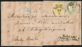 1862 2kr + 3kr levélen PESTH + NACH ABGANG DER POST - Bajna