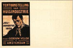 1909 Tentoonstelling van Huisindustrie in het Gebouw Velox te Amsterdam / Dutch home industry exhibition in Amsterdam. advertising poster art postcard litho s: D. H. Melk