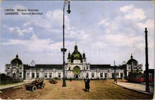 1916 Lviv, Lwów, Lemberg; Glówny Dworzec / Central Bahnhof / railway station, trams, automobile montage + K.u.K. Etappenpostamt 272 (EK)