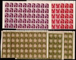 1943-1946 Hadvezérek 30f, 5P + Szent Margit + Milliárdos 100-as ívekben, ívszél hiány (35.000)