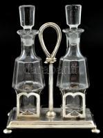 Ezüst(Ag) olaj- és ecettartó üveg betéttel, dugóval, dugón kis csorbával, jelzett, 14×8×17 cm, nettó: 188 g
