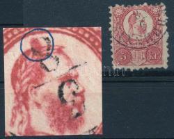 1871 Réznyomat 5kr lemezhibával konty a császár fején