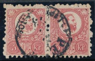 1871 Réznyomat 5kr pár centrált példány, a jobb oldali bélyegen összefolyt szakáll PEST / LIPÓTVÁROS