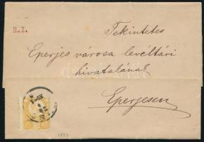 1873 Réznyomat 2kr levélen PEST - EPERIES / SÁROS.M.