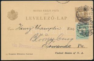 1897 2kr díjjegyes levelezőlap, 3kr céglyukasztásos díjkiegészítéssel az USA-ba
