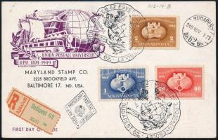 1949 UPU C sor ajánlott elsőnapi levelezőlapon az USA-ba érkeztetve