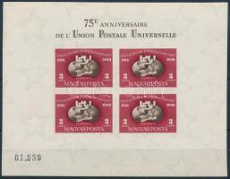 1950 UPU vágott blokk, néhány apró fekete pötty a gumin (160.000)