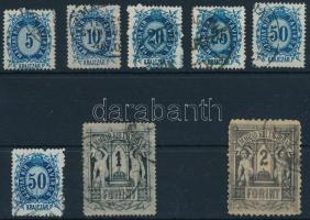 1873-1874 Távírda 8 db bélyeg, vegyes minőség