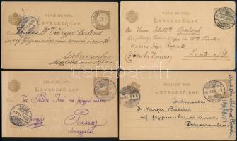 1895-1899 4 db 2kr díjjegyes futott levelezőlap