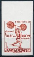 1962 Évfordulók - Események I. - Súlyemelő világbajnokság vágott ívszéli bélyeg