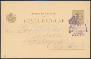 1900.06.04. 2kr millenniumi díjjegyes helyi levelezőlap a türelmi időn belül felhasználva, kiállítási bélyegzéssel