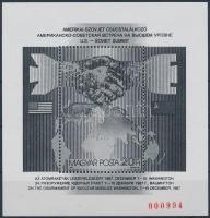 1987 Csúcstalálkozó feketenyomat blokk piros sorszámmal (32.000)