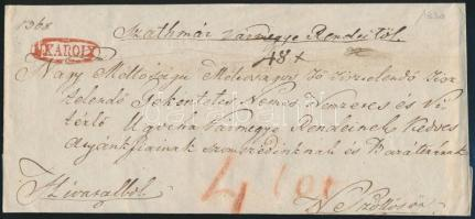 1830 Hivatalos levél portózva, piros N.KÁROLY bélyegzéssel Nagyszőllősre