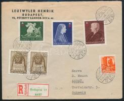 1943 Ajánlott levél Vöröskereszt bélyegekkel Svájcba (Aarau)