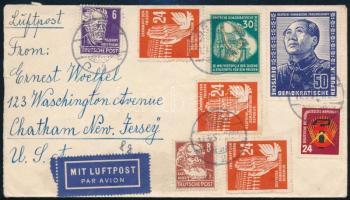 NDK 1951 Légi levél Mao bélyeggel az Egyesült Államokba