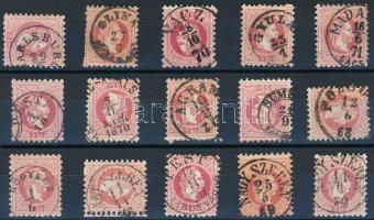 15 pcs 5kr stamps with nice cancellations, 15 db 5kr bélyeg szép / olvasható bélyegzésekkel