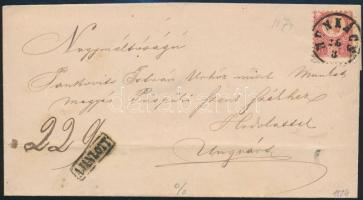 1874 Réznyomat 5kr + bontásnál eltépett 10kr ajánlott levélen MUNKÁCS - UNGHVÁR