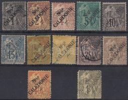Új Kaledónia 1892 Mi 20-29, 31, 33 (Mi. min EUR 880.-) (foghibák / perforation faults)