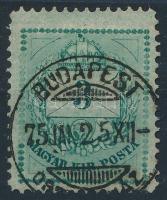 1874 3kr jelentősen elszíneződött papíron, a gyöngy keret látványos vésésjavítással