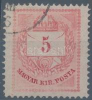 1874 5kr a jobb felső háromszögnél nagy színes folt, R!