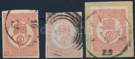 1871 3 db könyvnyomású Hírlapbélyeg, az egyik látványos lemezhibával és bécsi érkezési bélyegzéssel