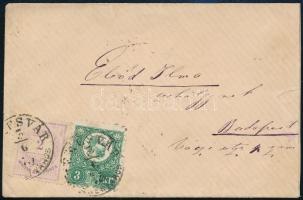 1875 Kisalakú levél Réznyomat 3kr és Színes számú 2kr színes bérmentesítéssel TEMESVÁR (JÓZ)SEFVÁROS - BUDAPEST
