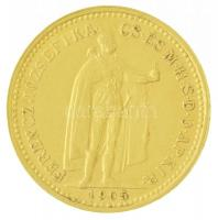 1905KB 10K Au Ferenc József Körmöcbánya (3,38g/0.900) T:2 / Hungary 1905KB 10 Korona Au Franz Joseph I Kremnitz (3,38g/0.900) C:XF Adamo K8